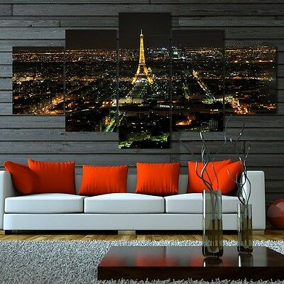 Modern 5Panel Unframed Home Decor Abstract Eiffel Tower Canvas Wall Painting Art