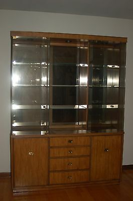 vintage DREXEL lighted solid wood china cabinet