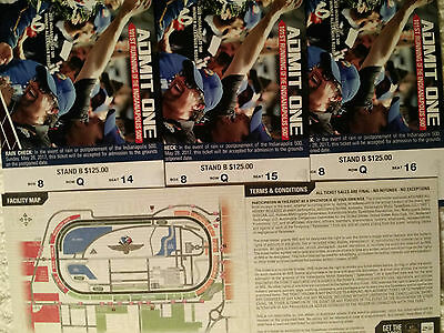 3-2017 Indianapolis 500 Tickets Stand B, Box 8 Row Q Seats14-16