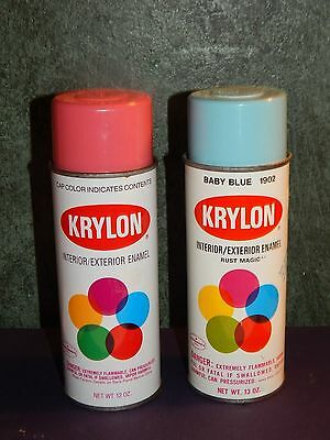 Vintage Krylon Hot Pink & Baby Blue Spray Paint Cans