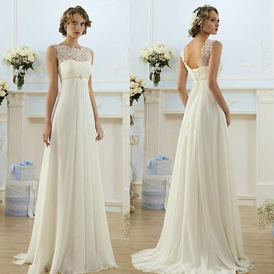 white/Ivory Lace Backless Bridal Gown proms Party Deb Evening Ball Wedding Dress