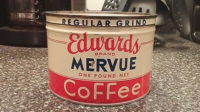 Vintage Coffee Tin Litho Advertising Can Edwards Cleveland Original Lid 1 Lb