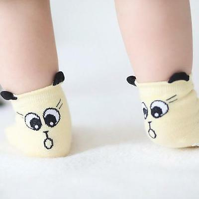 NEW 12-24 MO TODDLER ANTI SLIP infant Socks Baby Cotton Yellow Cartoon Animal