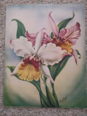 VINTAGE HAWAIIAN CATALEYA ORCHIDS LITHO  ART PRINT SIGNED TED  MUNDORFF 1940's