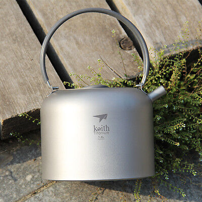1500ml Titanium Outdoor Camping Cooking Survival Pot Water Kettle Teapot Coffee