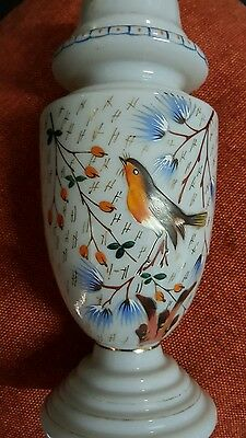 Vase Hand painted Victorian milk glass