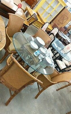 Vtg Bassett Rattan Bamboo Dining Room Set Wood Chairs Table Leather Seating