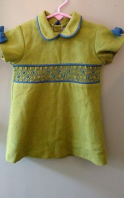 Little Girls VIntage Green & Blue Smocked WOOL Dress From Spain 12-24mo- 2T?