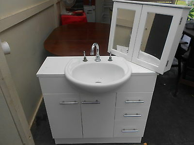 Bathroom Vanity , Sink And Mirror Cupboard Used