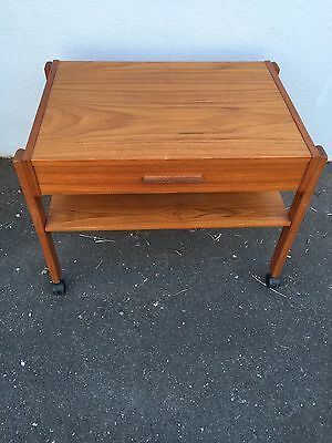 Mid Century Modern Teak Rolling Cart with One Drawer on Wheels