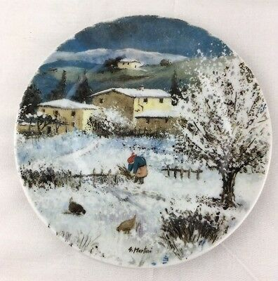 St Martin Email De Limoges Tuscan Winter Landscape Plate Snow Woman Chickens