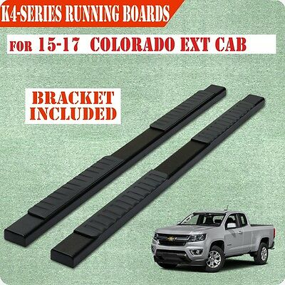 """15-17 Chevrolet Colorado Extended Cab 4"""" Running Board Nerf Bar Side Step BLACK"""