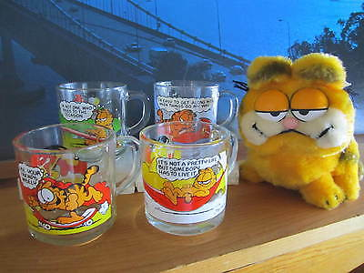 GARFIELD Set 5 Items Four McDonald's Mugs Cups & Plush Stuffed Figure Toy 1980s