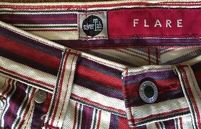 Vintage 80s LEVI'S SILVER TAB flared jeans in red, grey & cream stripe Sz 8