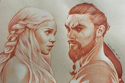 Game Of Thrones Original Pencil Drawing. Fan-ART . Khaleesi Khal Drogo