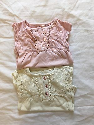 2x Baby Girl Crochet Vests Bodysuits Up To 3 0-3 Months