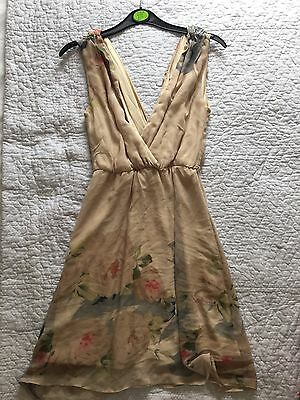 Women's Nude Floral Summer Occasion Dress Size 6