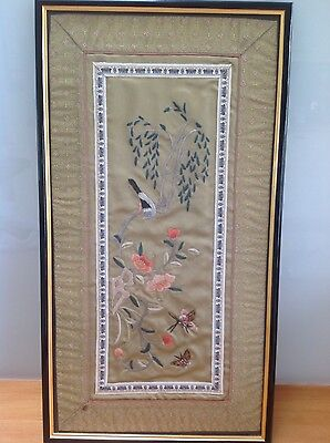 Chinese Silk Embroidered Panel - Framed - Vintage
