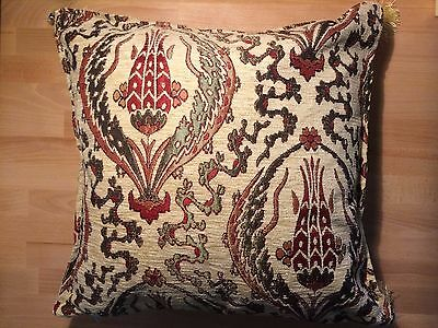 Unique Turkish Kilim Fabric Pillow Cover with Tassels NEW