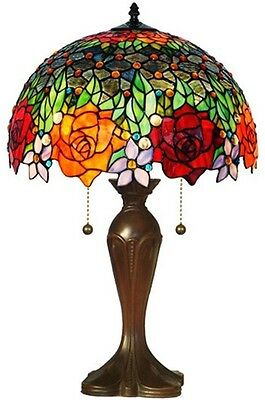 Elegant Tiffany Style 2-Light Jewel Table Lamp Vibrant Roses Glass Stained Shade