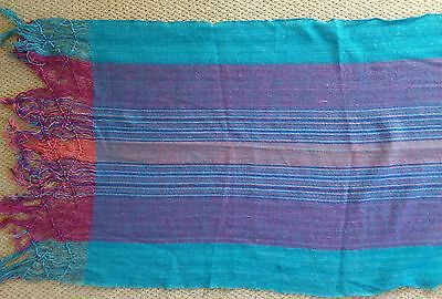 Mexican turquoise and purple rectangular cotton shawl