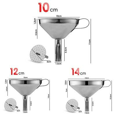 10/12/14cm Stainless Steel Kitchen Funnel Metal With Detachable Strainer Tools