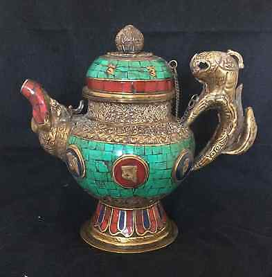 Handmade Decorative Tibetan Style Turquoise, Lapis and Coral Tea pot - Brass