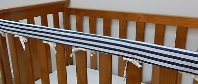 1 x Baby Cot Rail Cover Crib Teething Pad - Navy and White Stripes  **REDUCED**