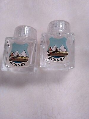 Sydney Miniature Salt and Pepper glass bottle screw top lids Sydney Opera house