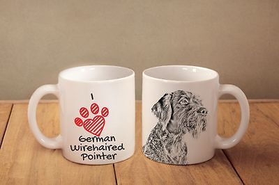 """German Wirehaired Pointer- ceramic cup, mug """"I love"""", CA"""