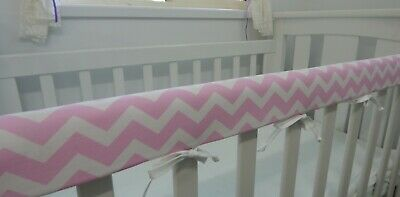 Cot Rail Cover Crib Teething Pad Baby Pink Chevron  SET OF TWO