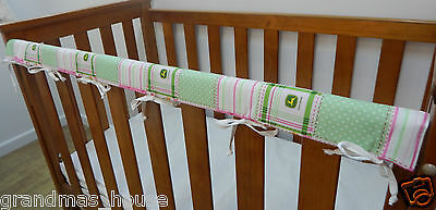 2 x Baby Cot Rail Cover Crib Teething Pad- John Deere - Pink Madras SET OF TWO