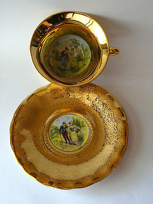 Vintage Osborne china 22K gold overlay hand painted cup and saucer set