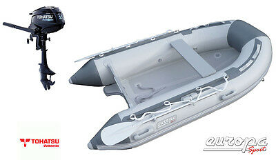 NEW Europa Sport 2.7m Inflatable Boat V Air Floor RIB + Tohatsu 3.5hp outboard