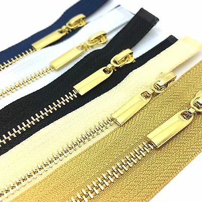 OPEN END Metal Polished Gold Teeth Zips No 3 Weight Zip  - Black, White (PG3OE)
