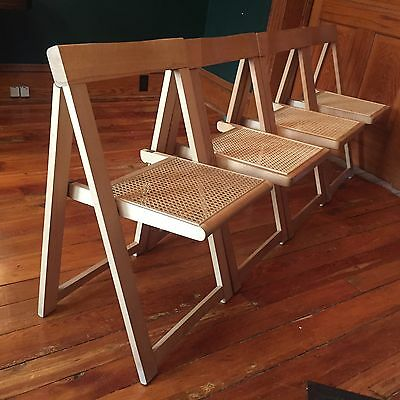MCM FOLDING CHAIR SET OF 4 RETRO BLONDE WOOD & RATTAN 60's MID CENTURY VGC!
