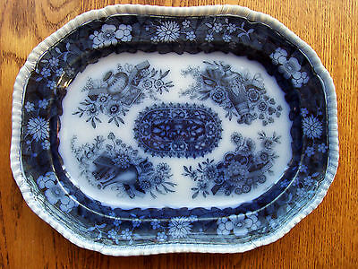 Antique English Blue & White Platter Copeland Spode's Chinese Trophies 12 3/4""
