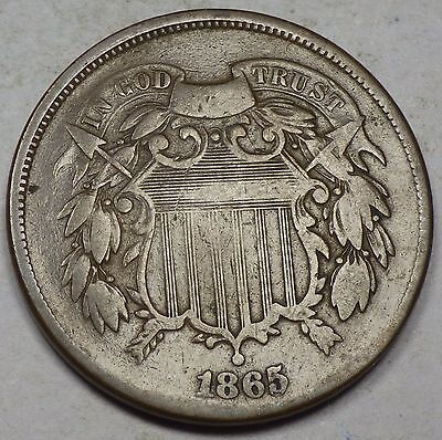 1865 Two Cent Piece VG Repunched Date
