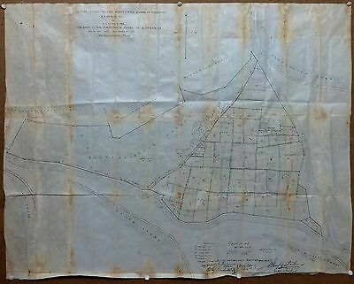 """India large hand drawn & colored 1927 cloth town map of SIVAGANGA 30"""" x 38"""""""