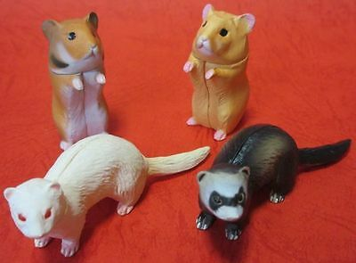 LOT 4 Choco Egg FERRET Sable Albino GOLDEN HAMSTER Animal Collection Mini Figure