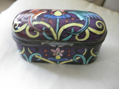 Beautiful birds and flowers decorated Russian Porcelain and metal box. Signed.
