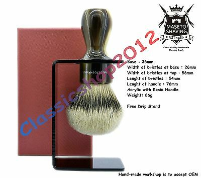 "MS - Extra Density 100% Silvertip Badger Shaving Brush  ""Memphis"" Horn 26mm Knot"