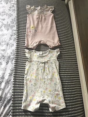 Set Of 2 Baby Girl Romper Suits 3-6 Months
