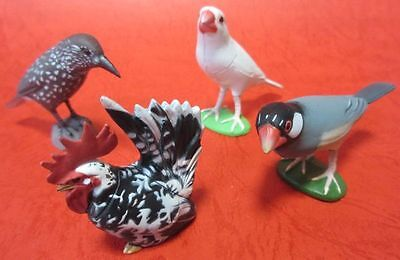 LOT 4 Choco Egg Bantams JAVA SPARROW Spotted Nutcracker Animal Figure JAPAN
