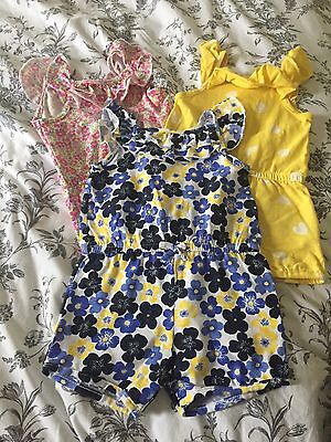 Mothercare Set Of 3 Baby Girls Playsuits Age 3-6 Months