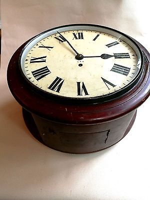 GPO Fusee clock double dial mahogany case, Antique post office clock.