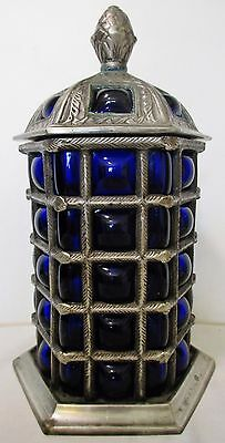"9"" Coblat Blue Blown Bubble Glass Silverplated Metal Lidded Apothecary Jar Urn"
