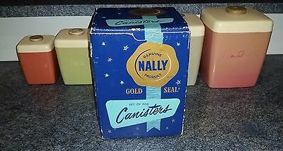 NALLY Ware BOXED set of 5 harlequin stacking kitchen storage canisters