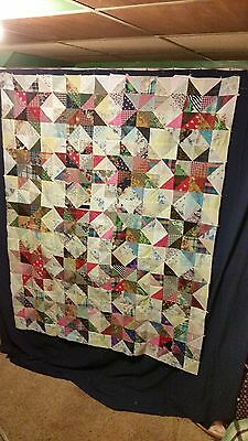 """Nice Star Charm Patchwork Quilt Top 61"""" by 78"""" Vintage Fabrics Blocks Squares"""