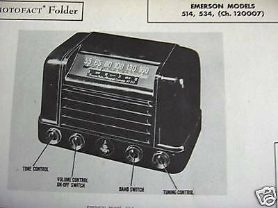 Emerson 514 & 534 Radio Photofact